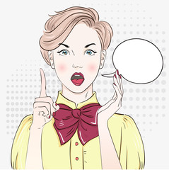 Comic Pop art blonde hair woman in blouse. Vector illustration.