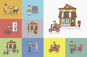Illustration of pizza shop set