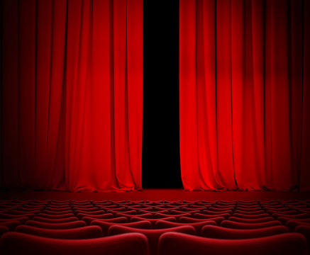 Open theater red curtain on stage 3d illustration