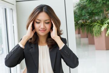 sick headache woman massaging her head, pain relief Wall mural