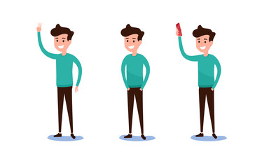 Freelance character Design. Set of guy in casual clothes in various poses happy emotional. Different emotions and poses.