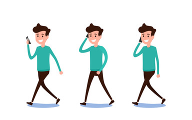 Freelance character Design. Set of guy in casual clothes using smartphone in various poses happy emotional. Different emotions and poses.