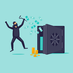 Thief opened the safe. Flat design vector illustration.