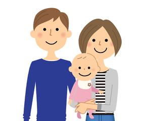 若いカップルと赤ちゃん