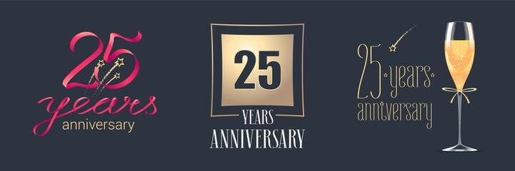 25 years anniversary vector icon, logo set