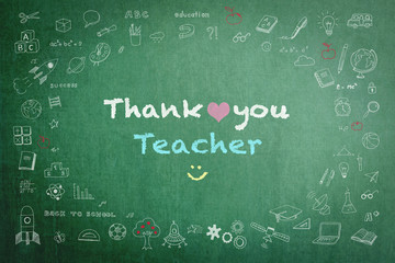 Thank you teacher with doodle on green chalkboard background