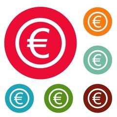 Euro symbol icons circle set vector isolated on white background