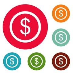 Dollar icons circle set vector isolated on white background