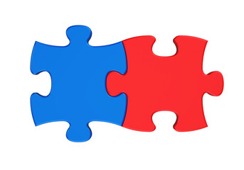 Two Puzzle Pieces Isolated