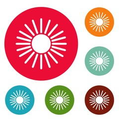Sun icons circle set vector isolated on white background