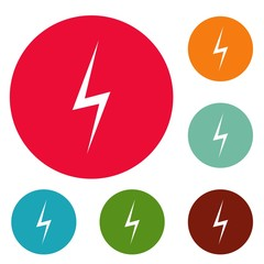 Lightning icons circle set vector isolated on white background