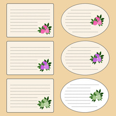Sticker on a school notebook. The template tag with flowers. Vector illustration.