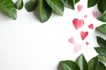 Hand drawn Illustration of red watercolor heart with brush and Green leaf  ,White background free space at left side for text and LOGO or your brand
