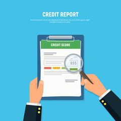 Close-up of person hands with clipboard credit score and magnifier glass. Concept personal credit score information. Vector illustration in flat style.
