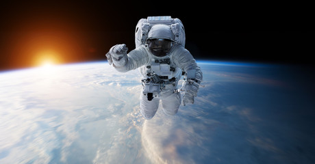 Spoed Foto op Canvas Nasa Astronaut floating in space 3D rendering elements of this image furnished by NASA