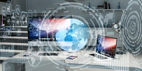Digital planet Earth floating in office 3D rendering