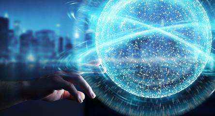 Businesswoman using digital network connection sphere 3D rendering