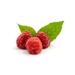 Photo of fresh red raspberry with leaves isolated on white background