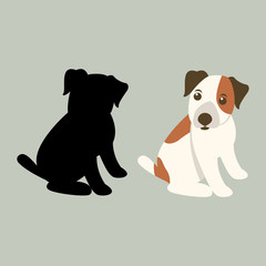 dog cartoon vector illustration flat style silhouette