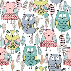 Vector seamless pattern with cartoon owls and feathers.