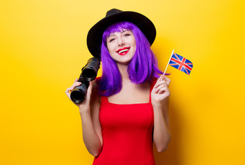 girl with binoculars and Great Britain flag