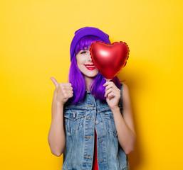 girl with purple hair and heart shape balloon