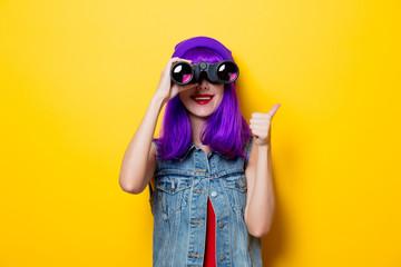 hipster girl with purple hair and binoculars