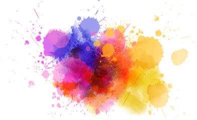 Fototapeta Multicolored splash watercolor blot obraz