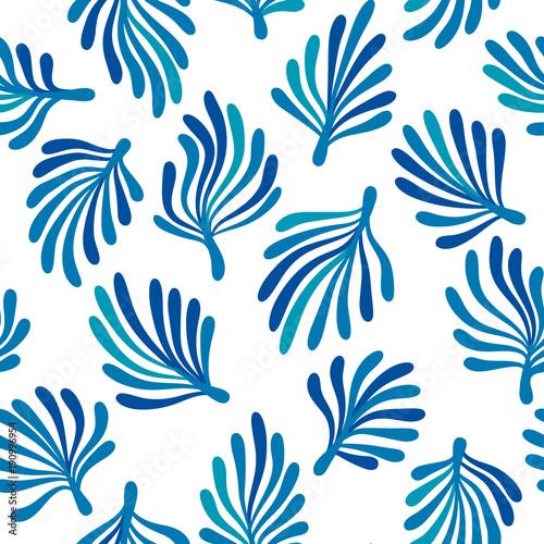 Blue seaweed on white ocean flora seamless pattern, vector\