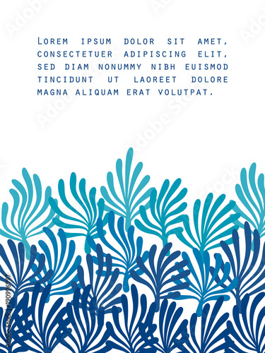 Blue seaweed on white ocean flora template for a poster, vector ...
