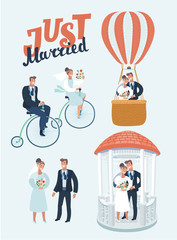 Vector funny cartoon illustration of Happy Newlyweds Scenes