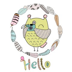 Card with cartoon owl and feathers in bright colors. Hello.
