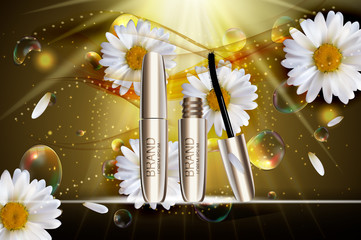 Fashion Design Makeup Cosmetics Product  Template for Ads or Magazine Background.  Mascara Product Series Reportv 3D Realistic Vector Iillustration
