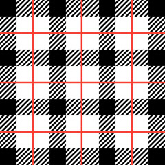 Lumberjack. Black, white, striped cell with red stripes