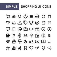 Set of online shopping icons for simple flat style ui design