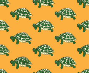 Green Turtle on Yellow Background