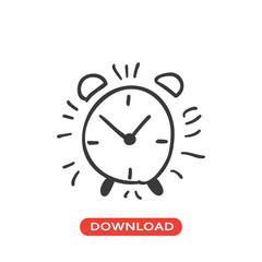Alarm clock hand drawn icon