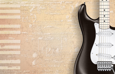 abstract beige grunge piano background with electric guitar