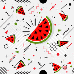 Trendy seamless, Memphis style watermelon geometric pattern, vector