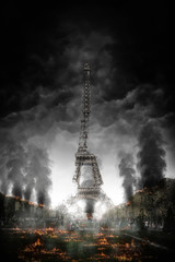Concept of Paris on fire