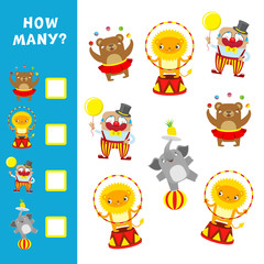 Educational game for children. How many circus characters. Vector calculation activity.