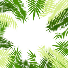 Realistic 3d Detailed Green Palm Leaf Frame. Vector