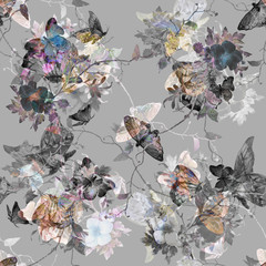 Watercolor painting of Butterfly and flowers, seamless pattern on gray  background