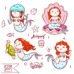 Set of four cute mermaids with other sea animals. Vector isolated underwater characters collection.