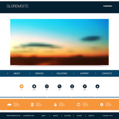 Website Design Template for Your Business with Sunset Sky Image Background - Dusk, Clouds, Sun, Sunrays