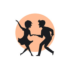 silhouette of a couple dancing twist vector illustration