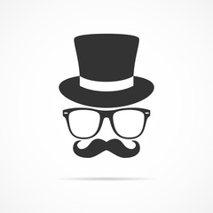 Vector image of icon hats with sunglasses and mustache.