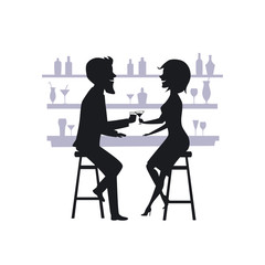 couple, man and woman on a date, drinking cocktails at the bar counter silhouette