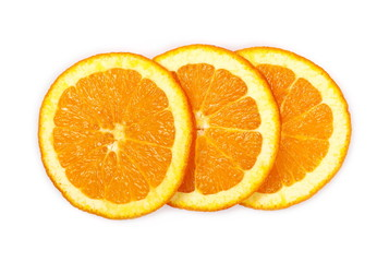 Fresh juicy orange slices isolated on white background, top view