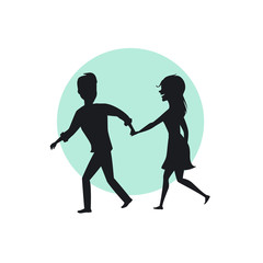silhouette of a couple walking holding hands, man ask woman to follow him